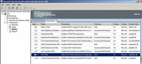Figure 1: ISA Server 2006 HTTP filter add-in