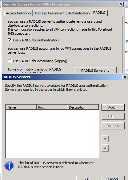 Figure 2: Specify the RADIUS Server