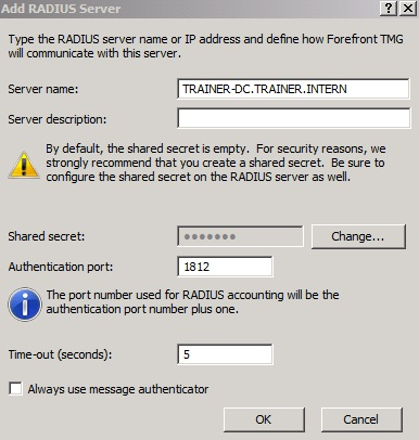 Figure 3: Verify Authentication port and enter the Shared secret