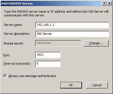 Using ISA Server 2004 RADIUS Authentication in Web