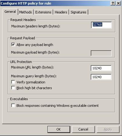 Figure 2: ISA Server 2006 HTTP filter general settings