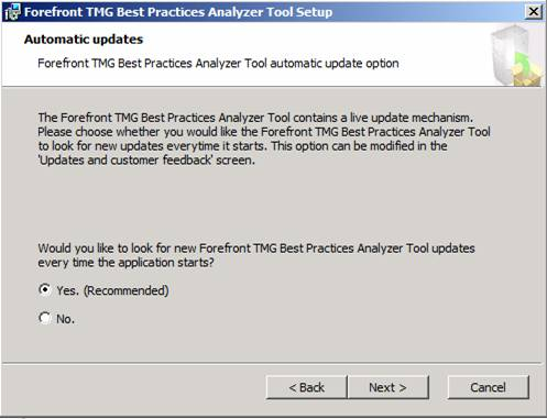 Figure 2: Forefront TMG Best Practice Analyzer Tool automatic update option