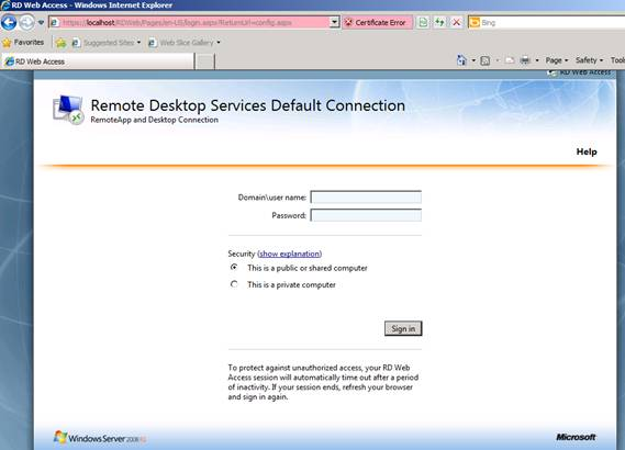 Figure 2: Log on to the Remote Desktop Web Access configuration website