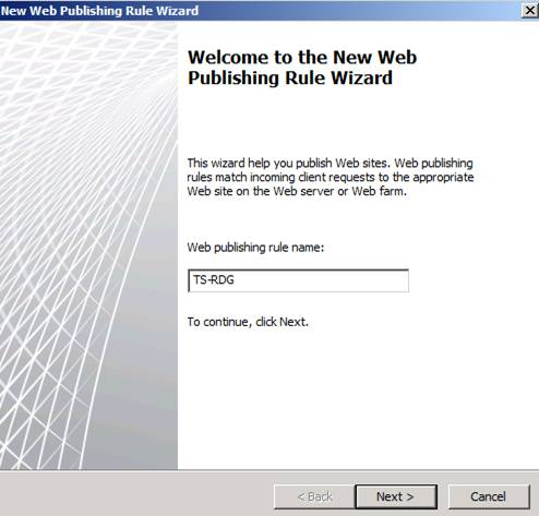 Figure 2: Create new Web publishing rule