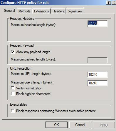 Figure 2: Forefront TMG HTTP filter general settings