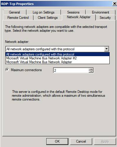 Figure 2: RDP properties – Network adapter