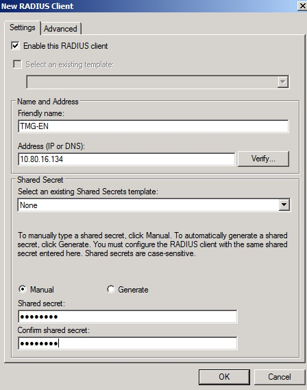 Figure 5: Add the Forefront TMG Server as a RADIUS client in the NPS Server settings
