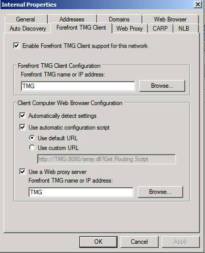 Figure 1: TMG client settings on TMG