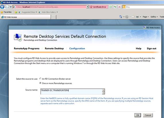 Figure 3: Specify a source for RD Web Access