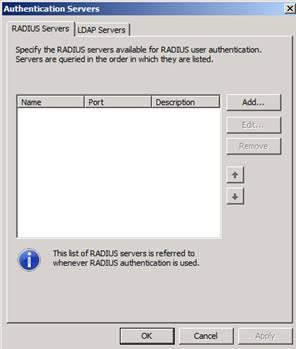 Figure 3: Configure RADIUS Servers