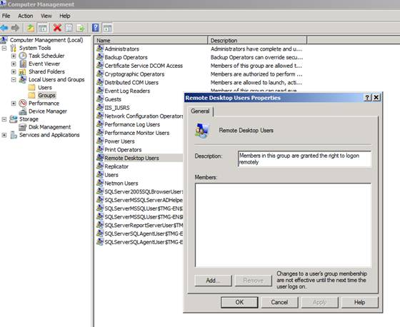 Figure 3: Allow users to access the TMG Server via RDP