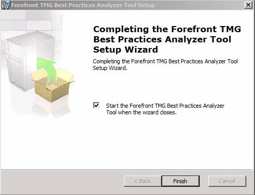 Figure 4: Installation of the Forefront TMG Best Practice Analyzer Tool has finished