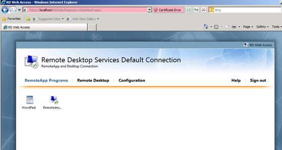 Figure 4: RemoteApp programs in RD Web Access