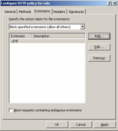 Figure 5: Using ISA Server 2006 to block some file extensions