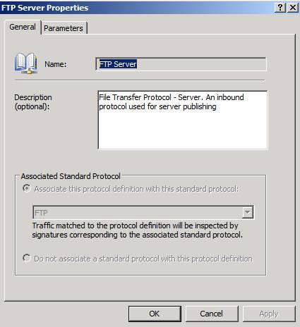 Figure 5: FTP-Server protocol properties