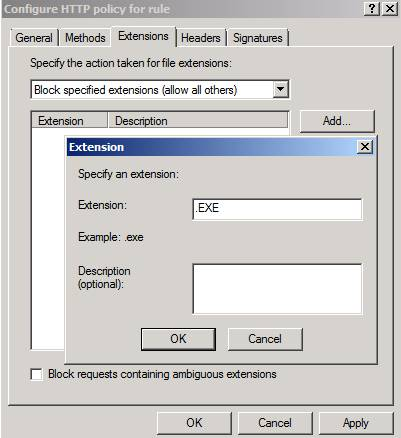 Figure 5: Using Forefront TMG to block downloading files with the EXE extension
