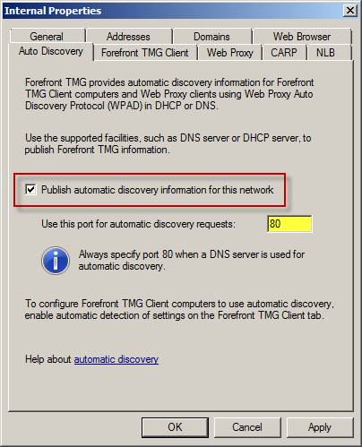 Configuring Web Proxy Automatic Discovery (WPAD) in Forefront Threat