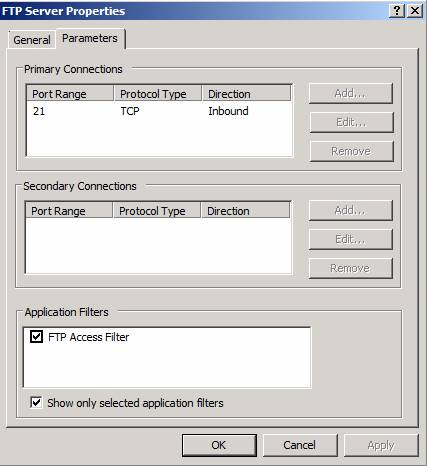 Figure 6: FTP ports and FTP Access Filter binding