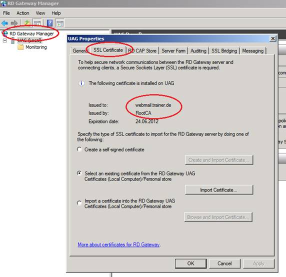 Figure 6: Correct SSL certificate for the RD Gateway service