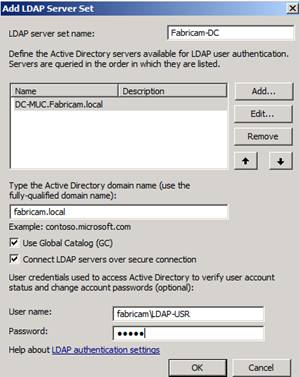 Figure 6: Specify LDAP Server and settings