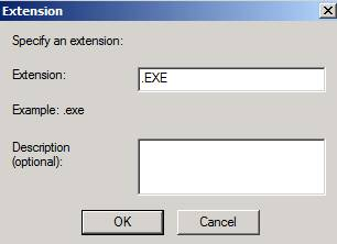 Figure 6: Blocking the .EXE file extension