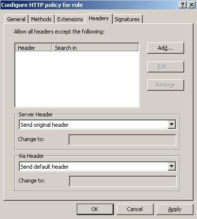 Figure 7: HTTP filter Header section