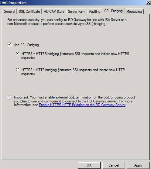 Figure 7: Select SSL Bridging options.