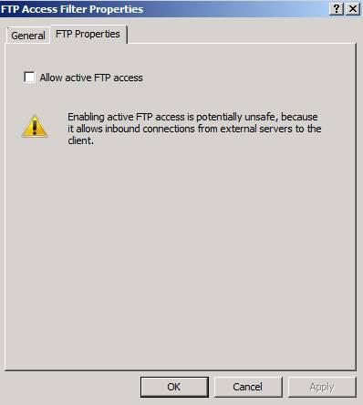 Figure 8: Allow Active FTP through TMG