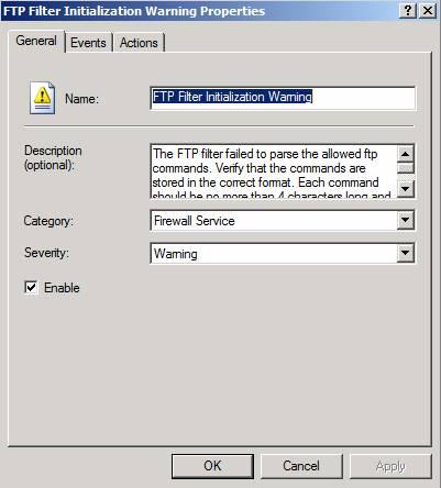 Figure 9: Configure FTP alert options