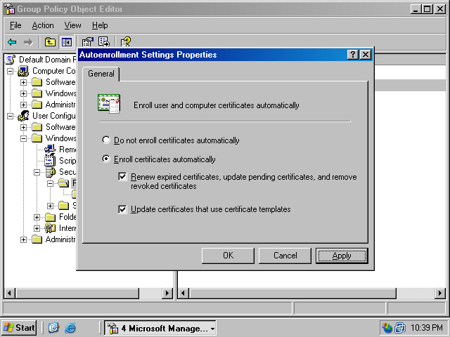 Assigning certificate to domain members via autoenrollment in a windows xp and windows server 2003 users will now automatically receive user certificates when they log onto the domain these user certificates can be used yadclub Gallery