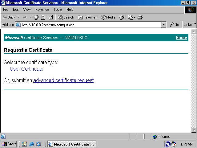 Obtaining a machine certificate via web enrollment from a windows click the create and submit a request to this ca link on the advanced certificate request page figure 4 yelopaper Choice Image