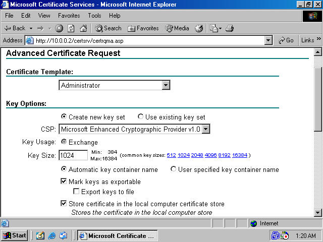 Obtaining a machine certificate via web enrollment from a windows this dialog box informs you the web site is requesting a new certificate on your behalf and that you should trust yadclub Choice Image