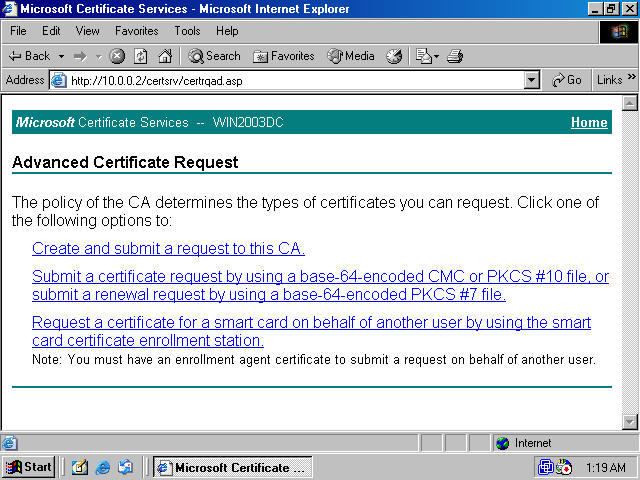 Obtaining a machine certificate via web enrollment from a for H2s certification card template
