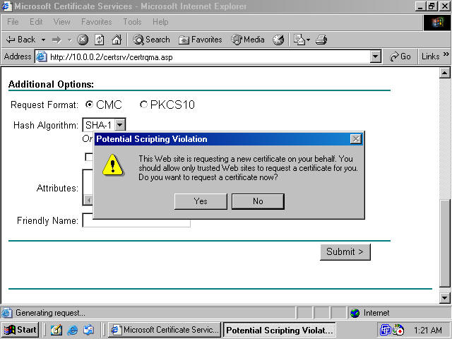 Obtaining a machine certificate via web enrollment from a windows you are presented with the certificate pending page figure 7 the default setting on a stand alone ca is to require administrator intervention before yadclub Image collections