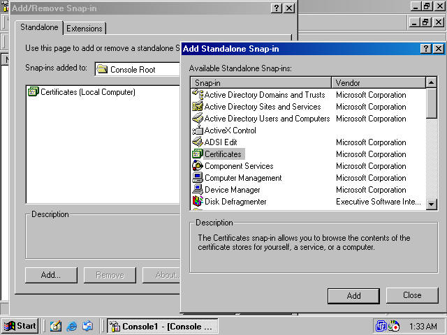 Obtaining a machine certificate via web enrollment from a windows on the addremove snap in dialog box click the ok button figure 16 yelopaper Images